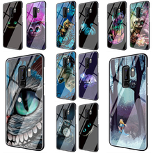 Alice in Wonderland Cheshire Cat Tempered Glass Phone Cover Case For