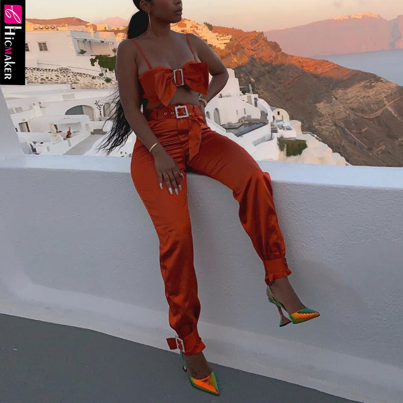 Women Two Piece Bow Down Bishes Set Diamond Buckle Top & High Waist Zipper Button Trouser Pant Set
