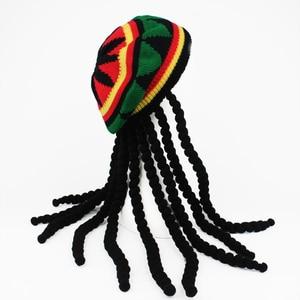 Hip hop boné de malha peruca trança chapéu masculino jamaicano bob marley rasta gorra inverno hombre dreadlocks reggae czapka zimowa