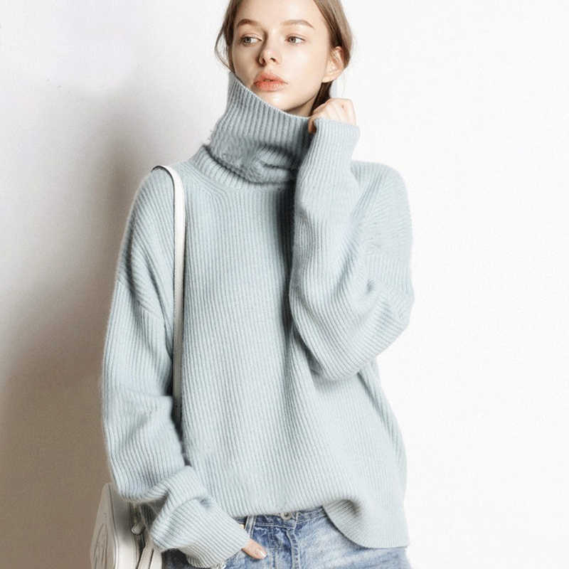 2019 Knitted Women's High-neck Cashmere Sweater Turtleneck High-necked Autumn and Winter Basic Lady Sweater Loose Black