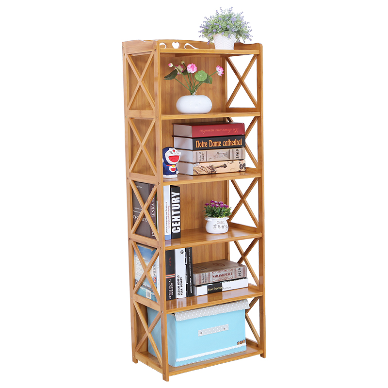 Simple Multi-storey Nanzhu Bookshelf Sitting Room Table Solid Wood Students Landing Assembly Children's Creative Bookcase