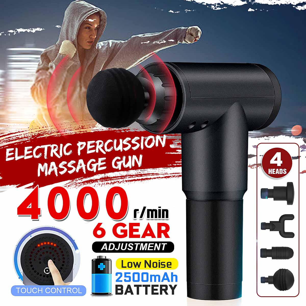 4000r/min Therapy Massage Guns 6 Gears Muscle Massager Pain Sport Massage Machine Relax Body Slimming Relief With 4 Heads