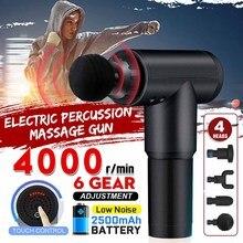4000r/min terapia pistolas de masaje 6 engranajes masajeador muscular dolor deporte masaje máquina relajación cuerpo adelgazamiento alivio con 4 cabezas