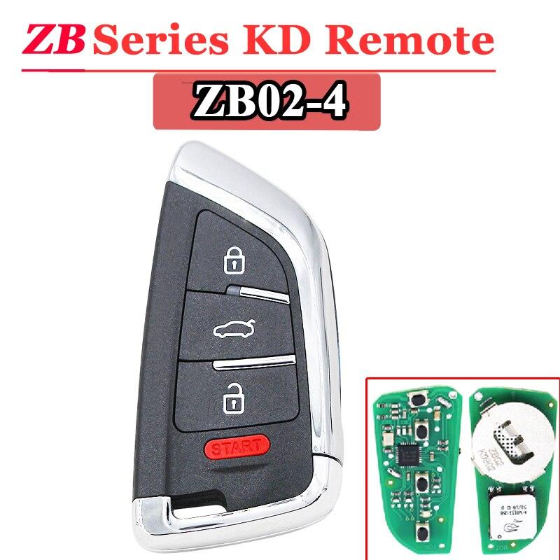 Free Shipping (1 Pcs)KEYDIY 4 Button ZB02 Smart Key Keyless Go ZB Series KD Remote Key For KD900 URG200 KD-X2
