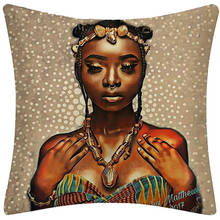 African Girl Lady Oil Painting Black Women Home Art Decoration Sofa Throw Pillow Case Cotton Linen Cushion Cover Home Decor
