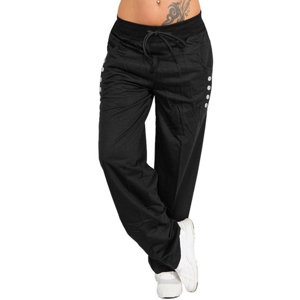 Pants   Women's Spring Summer Casual Trousers Women's Casual   Pants   High Waist Strap   Pants   Solid Color Button   Wide     Leg     Pants   M-2XL