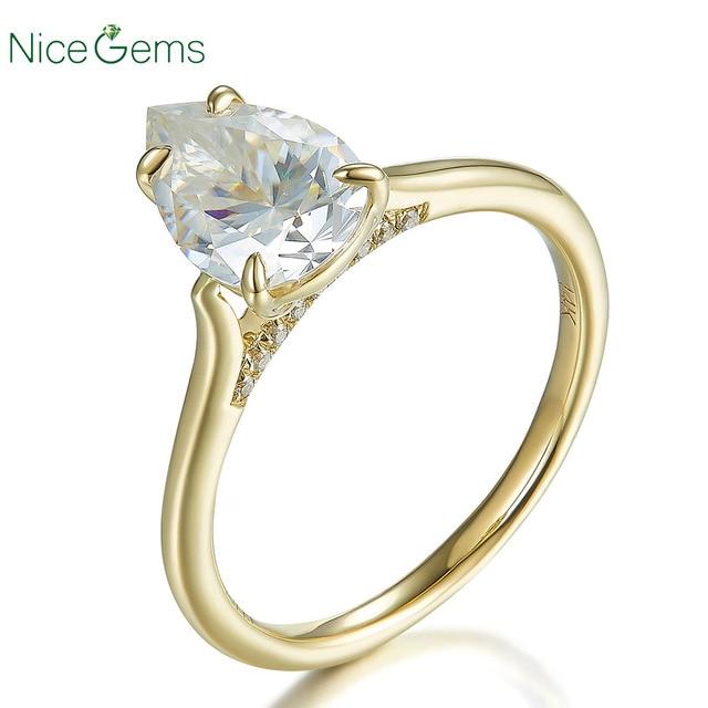 14K الذهب الأصفر 1.5 قيراط الكمثرى قص الدائري 4 الشق مجموعة D اللون مويسانيتي خاتم الخطوبة لحفل الزفاف هدية للذكرى السنوية