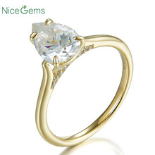 14K żółte złoto 1.5 karatowy gruszka Cut ring 4 prong zestaw D kolor Moissanite pierścionek zaręczynowy na prezent na rocznicę ślubu