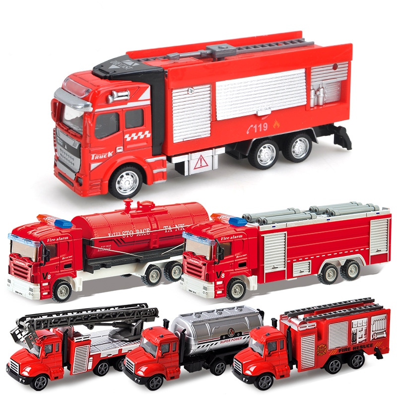 Fire Truck Vehicle Models Toy Emergency Pull Back Vehicles Mini Car Model  Learning Toys Set For Boys Kids