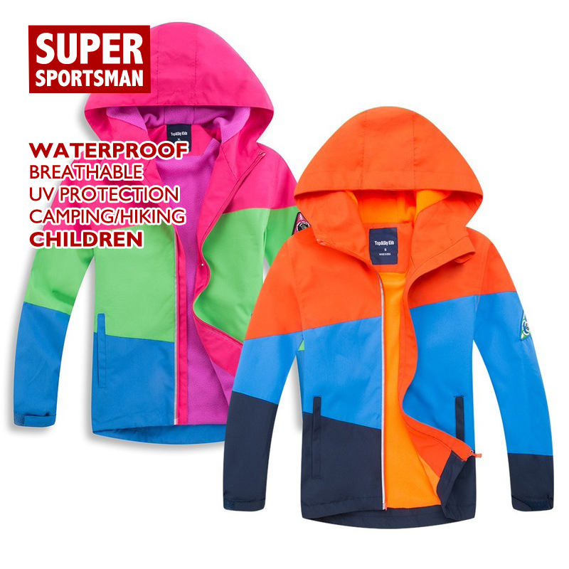 Waterproof Jackets Windbreaker Softshell Boy Skiing Winter Fleece Hiking Sports Children
