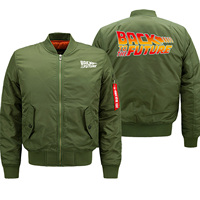 Newest Movie Pattern Mens Zipper Jacket Back To The Future Mens Military Style Jackets Casual Personalized Tops Men Bomber Pilot