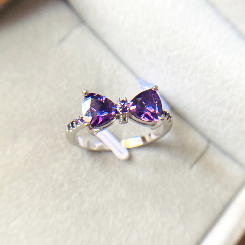 HOT Sparkling Bow Knot Stackable Ring Micro Pave Purple CZ For Women Valentine's Day Gift  925 Sterling Silver Jewelry