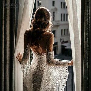Image 2 - Robe De mariée en dentelle transparente, robe De mariée transparente, Style Hippie, manches longues, modèle symphonique, DW227