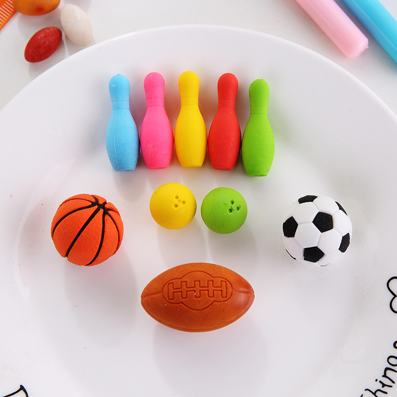 Novelty Erasers Sets 100Pcs Detachable Eraser Kawaii Basketball Football Shape Eraser Cute Gifts Prizes For Kids Stationery
