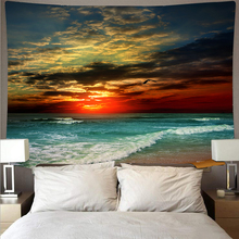 Beautiful dusk beach giant wave landscape tapestry polyester wall cloth art tapestry hippie wall hanging psychedelic beach towel janeyu new cosmos star velvet multifunctional polyester tapestry hanging beach towel