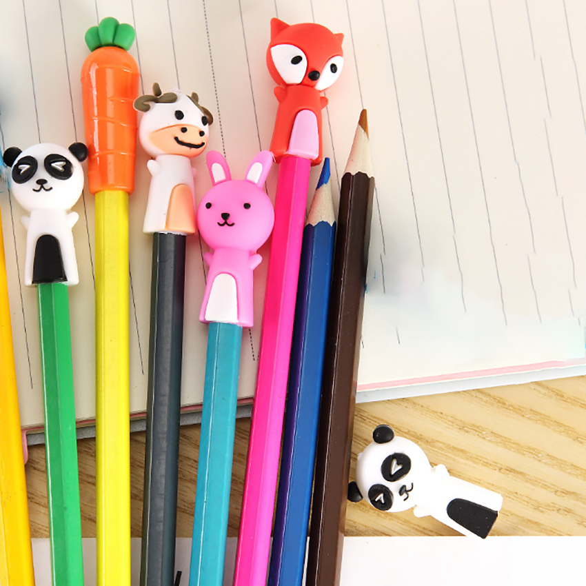 1 Set Cartoon Rubber Pencil Cap Cute Carrot Bunny Protective Pencil Cover For Kids Gift Pencil Caps Extender Stationery Supplies