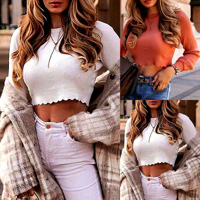 Fashion Women Sexy Casual Pullover Pleated Elegant Casual Sweet Female Warm Sweaters Long Sleeve Solid Crop Tops Sweater