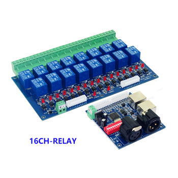 Wholesale 16CH Relay switch dmx512 Controller,relay output,16way RGB led strip DMX relay (max 10A),high voltage led lights lamp 12ch relay switch dmx512 controller rj45 xlr relay output dmx512 relay control 12 way relay switch max 10a for led