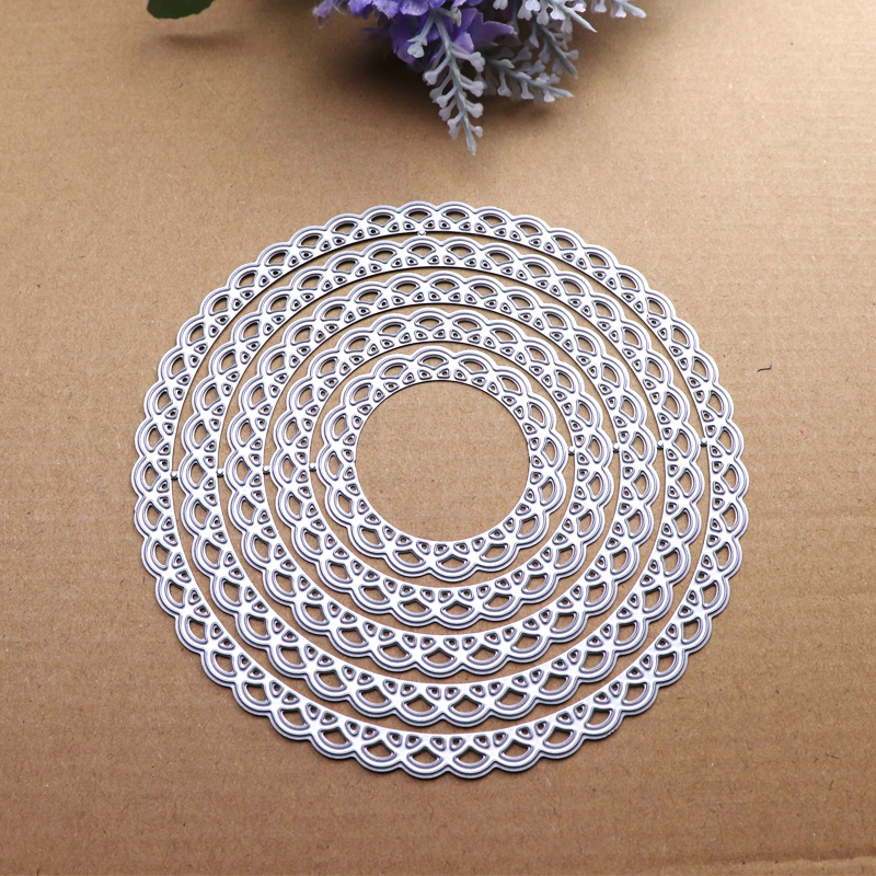12cm Lace Round Die Circle Metal Cutting Dies Scrapbooking Die Cut for DIY Photo Album Card Craft Paper Embossing Supplies 5