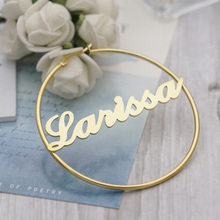 Hoop-Earrings Name Customized Personality Women with Statement Words Hiphop for Font