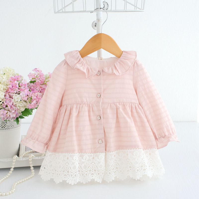 2019 Spring A-line Peter Pan Collar Kids Baby Princess Dress Newborn Infant Baby Girls Party Dresses Baby Clothes 0-2T 2 Color