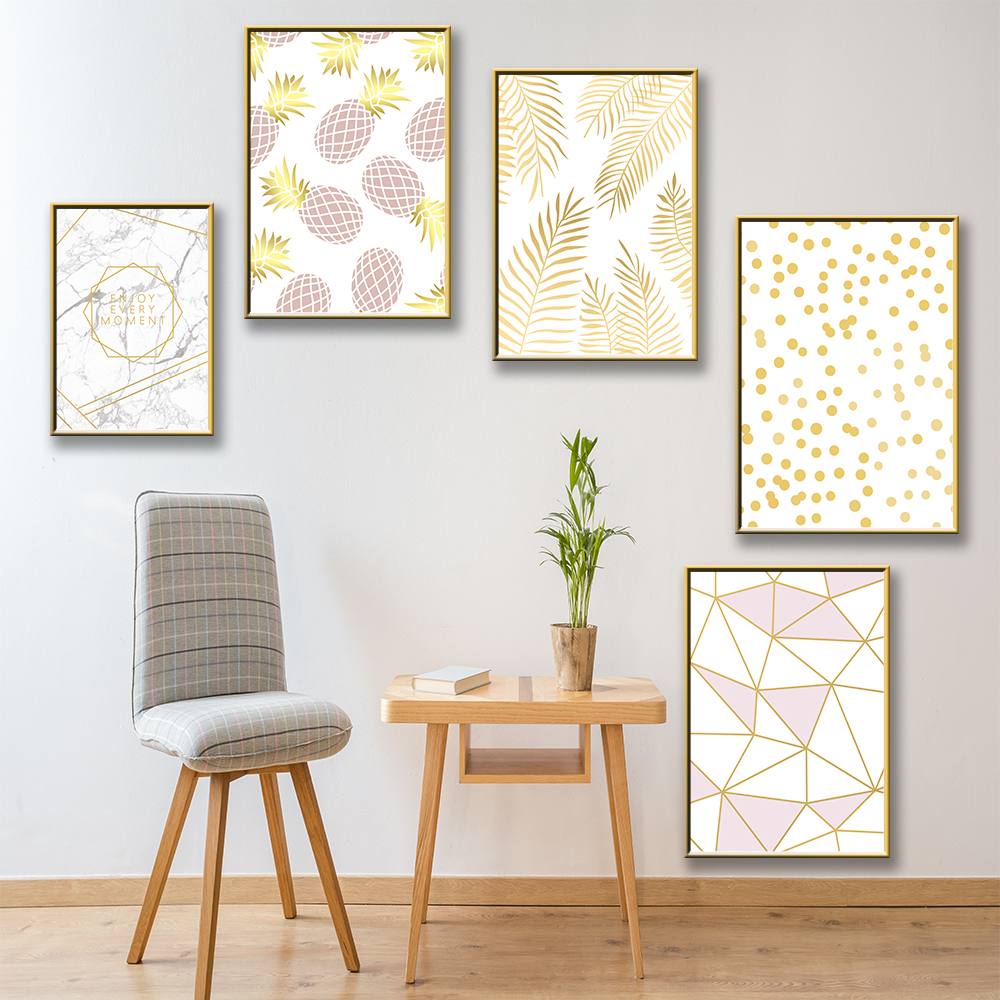 Modern Nordic Gold Wall Art Inspirational Canvas Painting Picture Decoratie Woonkamer Laminas Decorativas