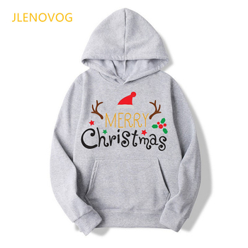 kawaii merry christmas beer letter print gray/pink hoodie women graphic oversized sweatshirt female vogue sudadera mujer tops