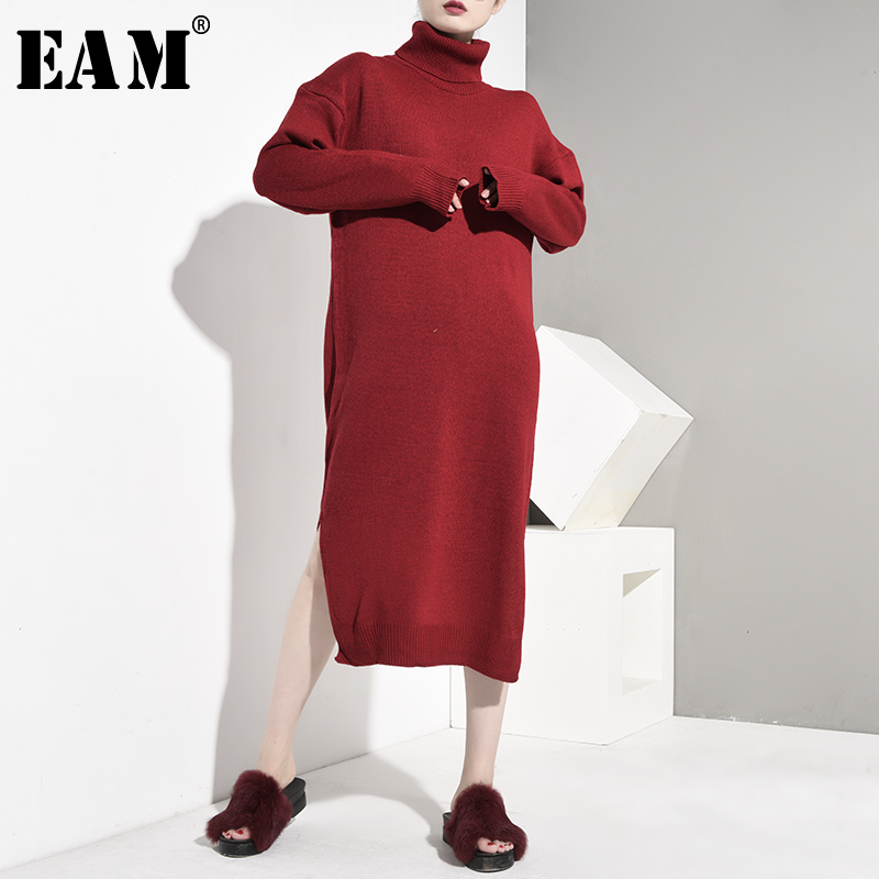 [EAM] Knitting Gray Lantern Sleeve Three-dimensional Sweater Loose Fit Round Neck Women New Fashion Autumn Winter 2019 OB1350