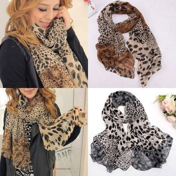 Womens Girls Leopard Print Soft Chiffon Shawl Scarf Long Wrap Stole Scarves New Lightweight shawl Women Long Shawl chic exuberant peonies and leaves pattern shawl wrap chiffon scarf for women