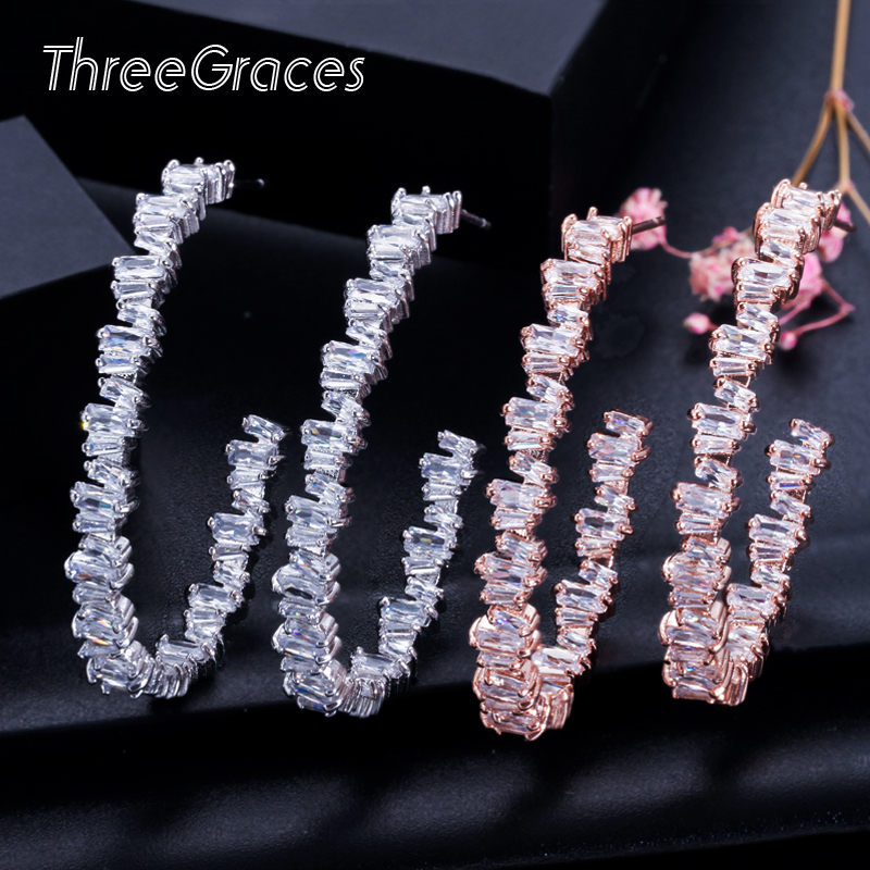 ThreeGraces Unregelmäßigen Baguette CZ Kristall 925 Sterling Silber Big Rose Gold Hoop Kreis Ohrringe für Damen Tanzen Party ER115
