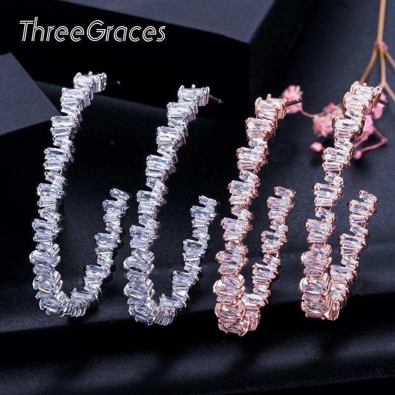 Trois grâces irrégulière Baguette CZ cristal 925 en argent Sterling grand or Rose cerceau cercle boucles d'oreilles pour dames danse fête ER115
