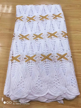 New Dry Lace in Switzerland 2020 High Quality White/Gold African Swiss Embroidery Stones 100% Cotton Voile Laces Fabric Austria