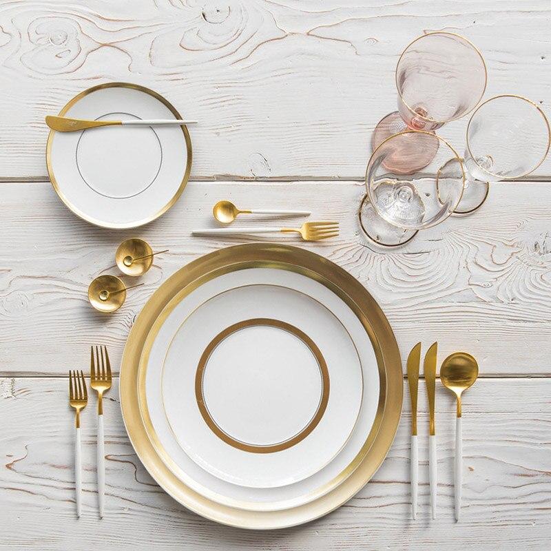 Or jante vaisselle Restaurant assiette nourriture plat doré luxe porcelaine assiette Western famille Restaurant mariage alimentaire plateau vaisselle