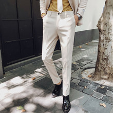 Business Slim Fit Formele Broek Mens Suit Broek Pantalon Mode Kantoor Jurk Broek Heren Formele Broek Wit Pantaloni Tuta Mens(China)