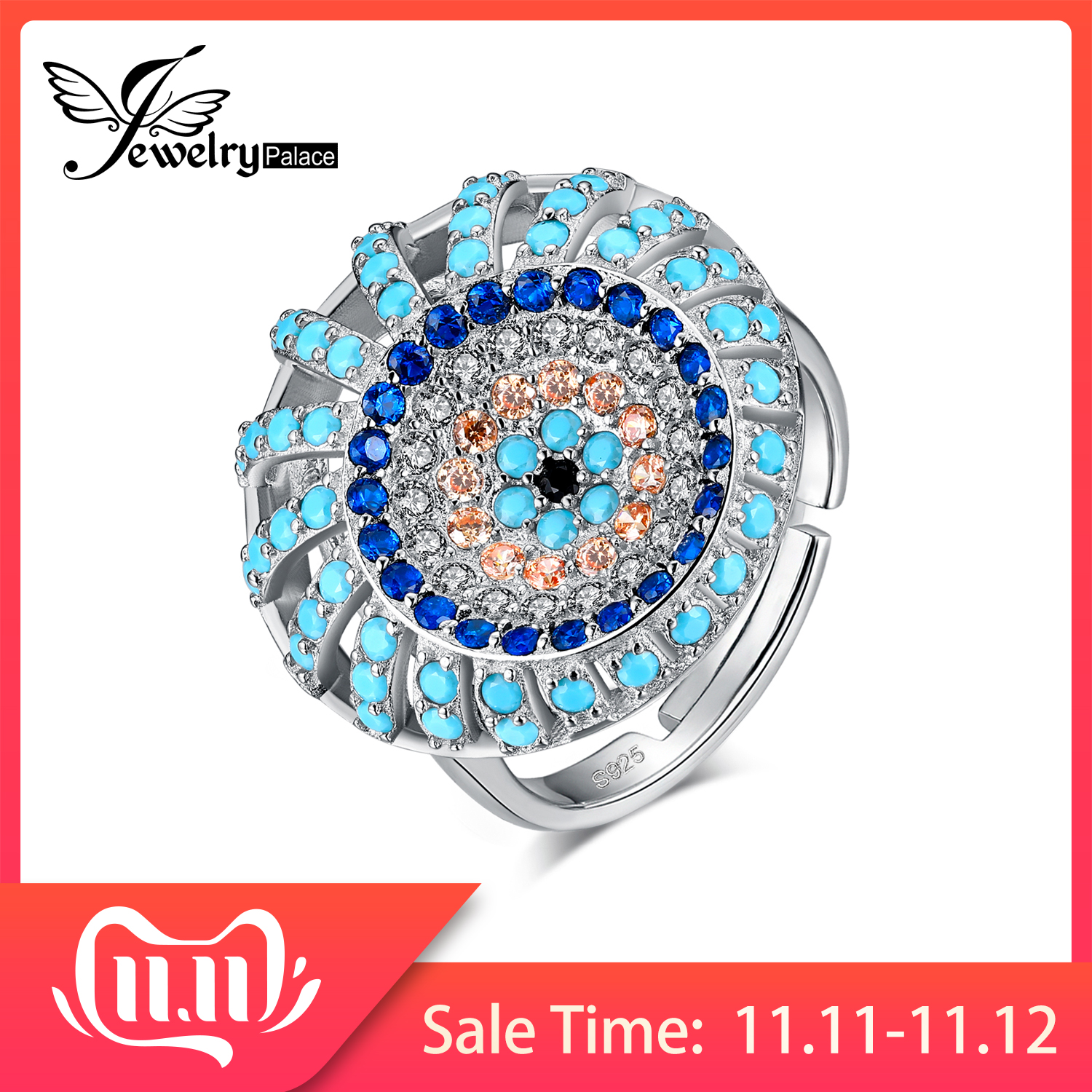 JewelryPalace Bohemian Boho Simulated Turquoise Ring 925 Sterling Silver Rings For Women Party Cocktail Ring Silver 925 Jewelry