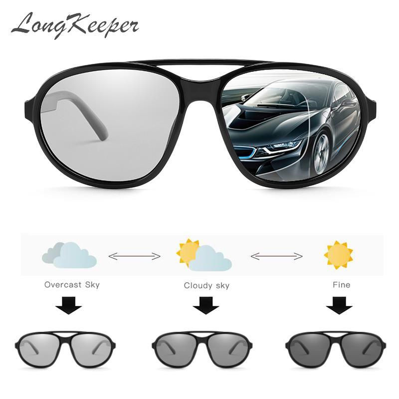 LongKeeper Polarized Photochromic Sunglasses Men Chameleon Discoloration Driving Sun glasses for men women UV400 Pilot Goggles
