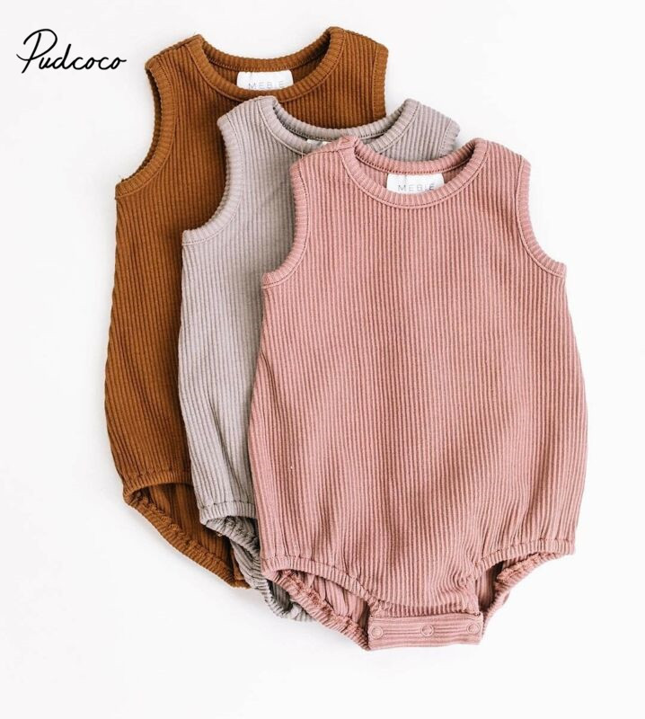 Newborn Baby Boy Girl Knit Solid Ribbed Bodysuit Jumpsuit Cotton Outfits Sleeveless Sunsuit 0-24M Children Summer Clothing