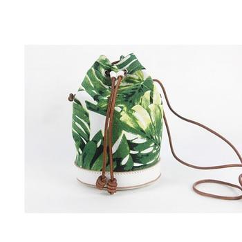 Genuine Leather panel canvas Bag Print Small Bucket Shoulder Bag 2020 New Arrival  Environmental Protection Bag