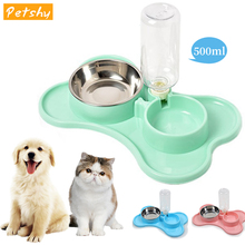 Petshy Cats Bowl Dog Double Bowls Feeder Pet Automatic Water Fountain Feeder Cat Drinking Dispenser Pets Food Water Feeding Bowl