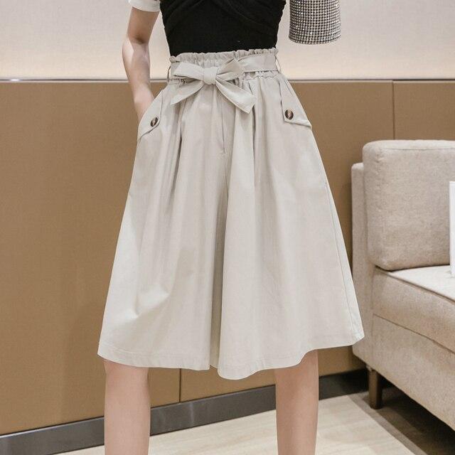 SURMIITRO Fashion 2021 Summer Korean Style Wide Leg Capris Women Short Pants High Waist Shorts Skirts Female With Belt 2