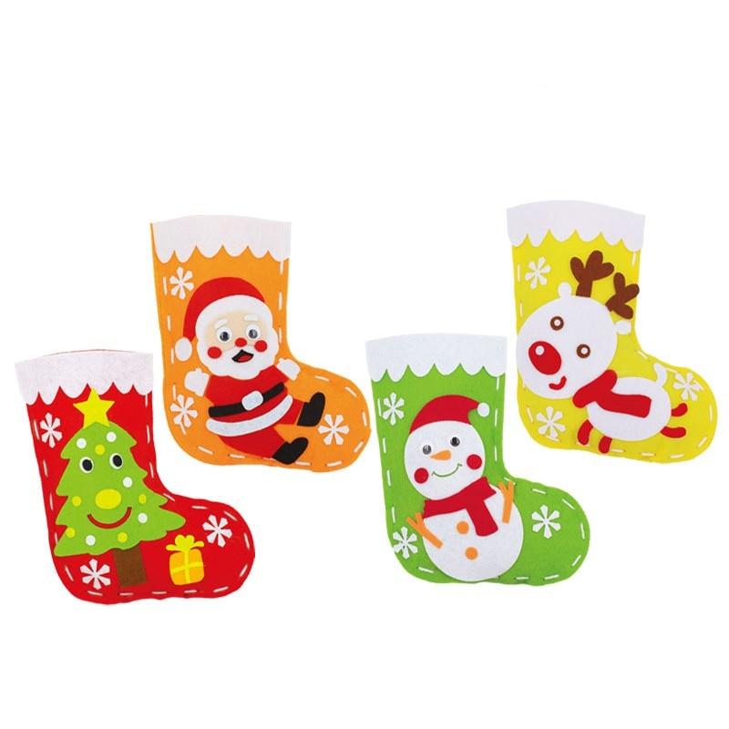 Christmas Holiday DIY Stockings Christmas Hanging Bags Red Handmade Socks Decorations Toys