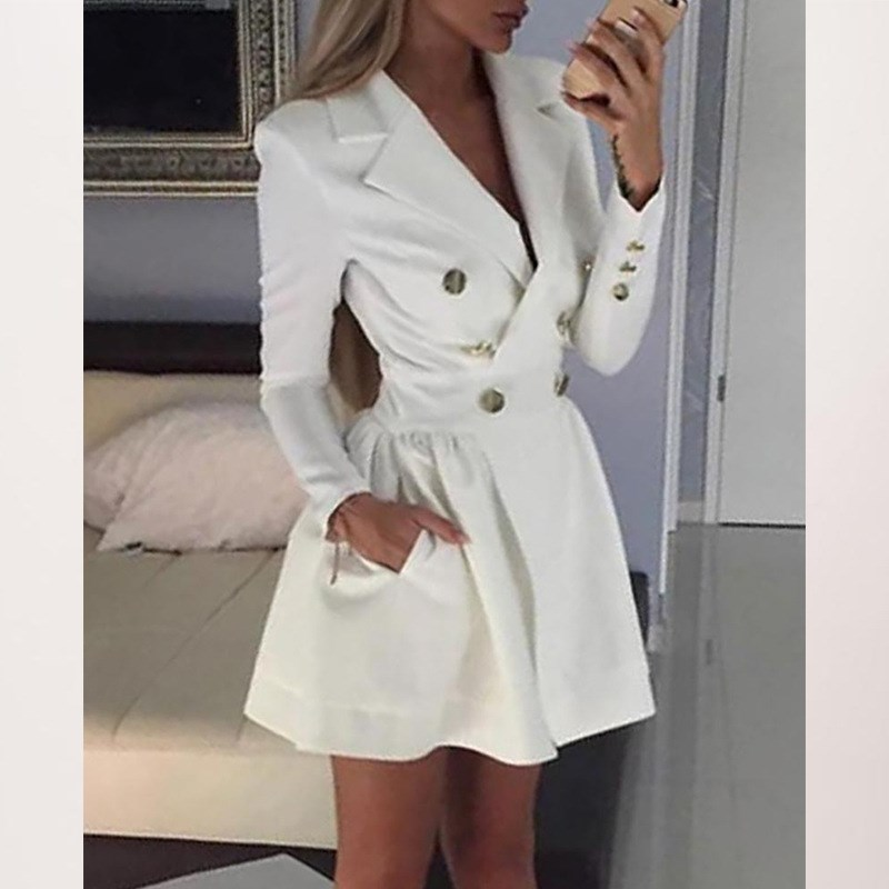 2019 New Elegant Lapel Mini Dress Women Double-breasted Empire Dress Long Sleeve A-line Pink White Dresses