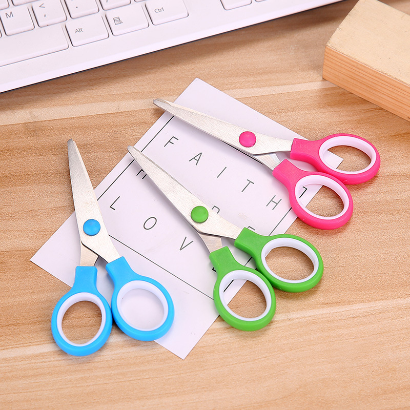 Paper Cutting Art Scissors For Kids School Office Cutting Scissors Stainless Steel Scissors Stationery Supplies Random Colors
