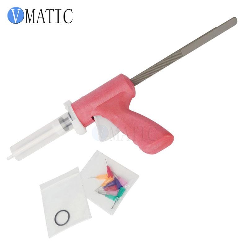 Купить с кэшбэком Free Shipping 55 cc 55 ml Manually Dispensing Caulking Gun With Syringe & Needles