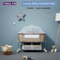 Luxury bedroom bedside bed height can lift the Children bed folding and carrying wheels to facilitate moving the Children bed