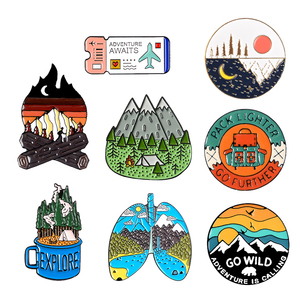 Outdoors Mountain Starry Night Enamel Pin Custom Wild Camping Hiking Brooches Bag Clothes Lapel Pin Adventure Badge Jewelry Gift(China)