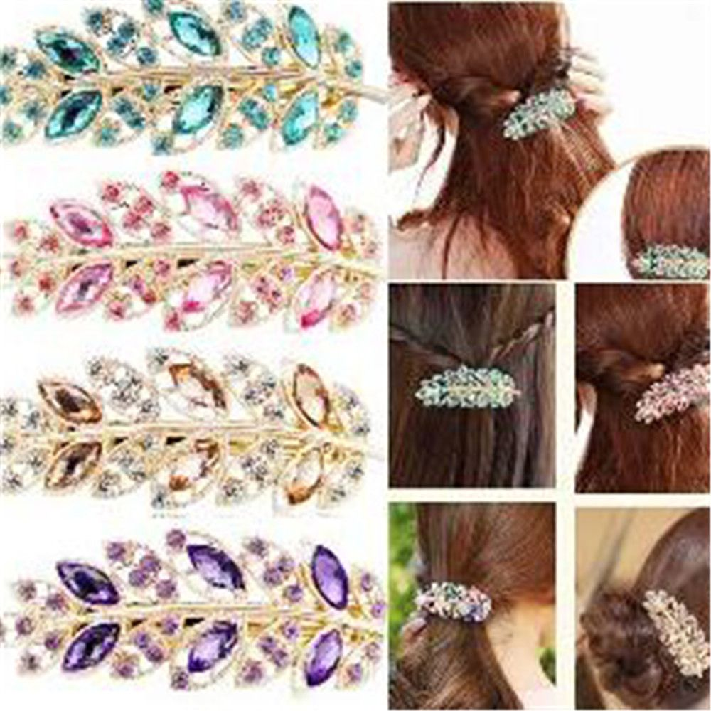 Women Lady Girls Korean Leaf Crystal Rhinestone Barrettes Hairpin Hair Clip Band Hairpins Hair Clip For Women Hair Accessories