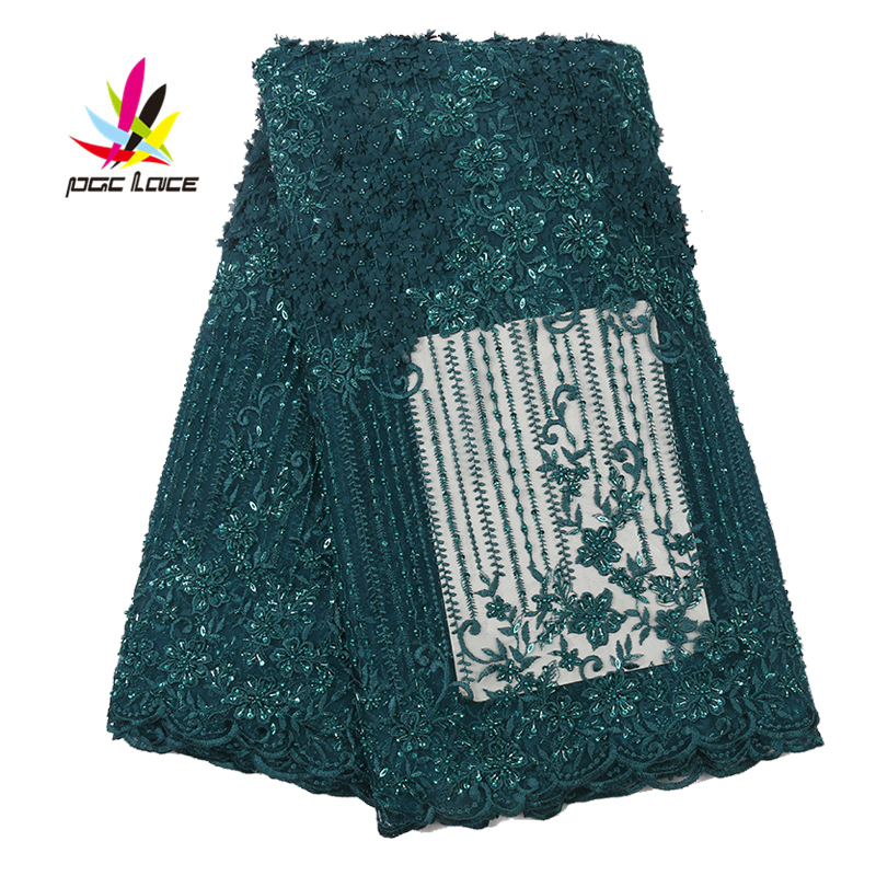 3D Guipure Flower Cord French Lace Embroidered Pearl Sequin Applique Voile Fabric 2019 Latest Style Hot Sale In Africa AMY2861B