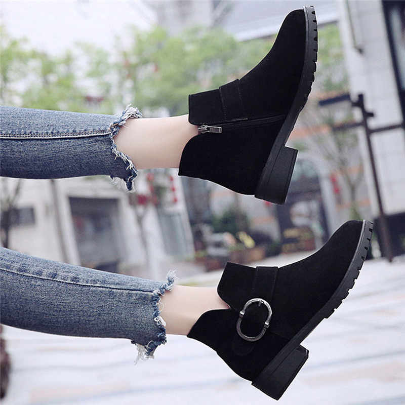 Ayakkabı Kadın 2019 Vintage Zarif Düz Rahat Çizmeler Yuvarlak Ayak Çizmeler Moda Med Topuklu Zapatos De Mujer Dropshipping #4