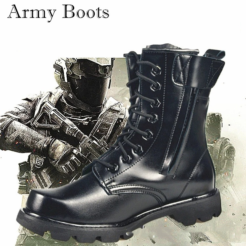 Men Genuine Leather Wool Army Boots